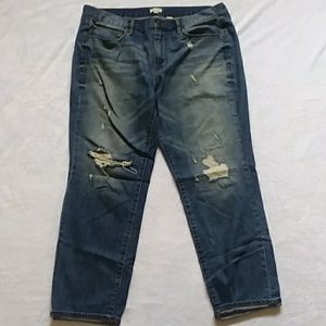 J Crew distressed boot cutjeans
